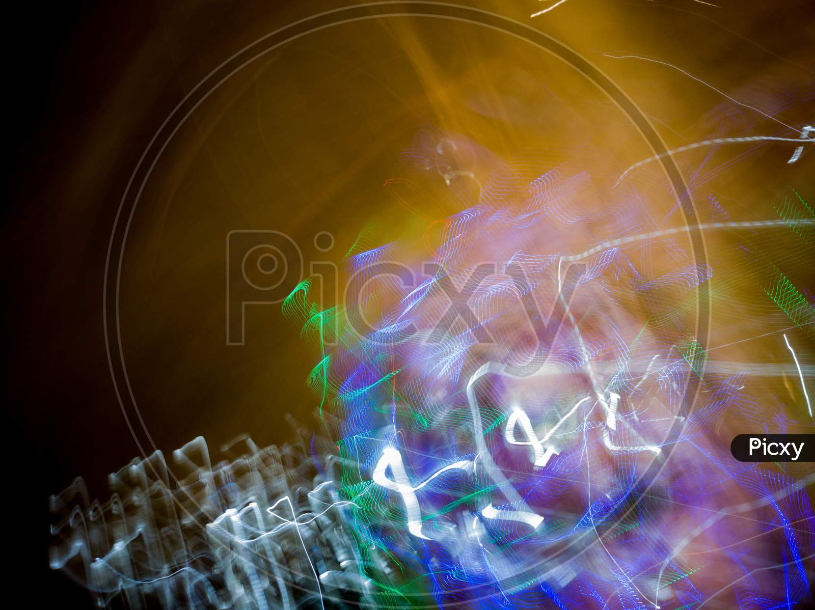 Light painting from various kind of light sources and different coloured light source