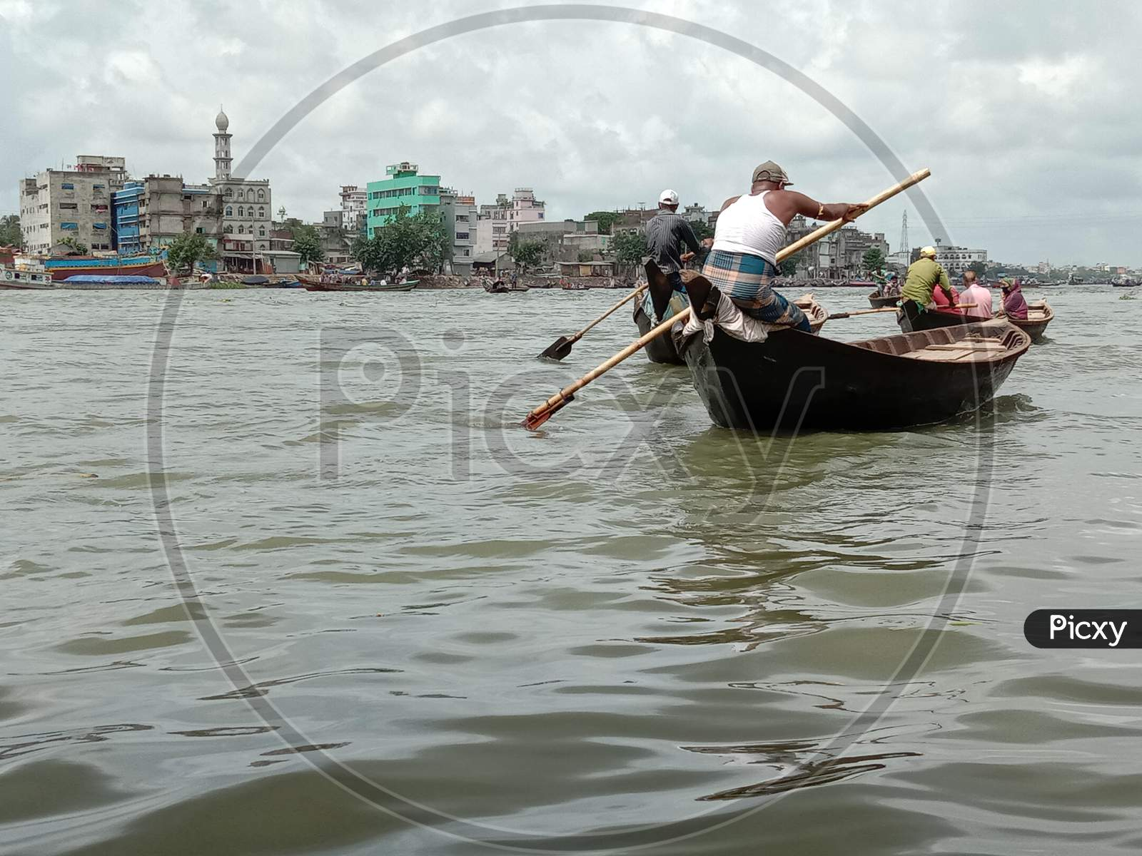 Black Colored Wooden Fishing Boat
