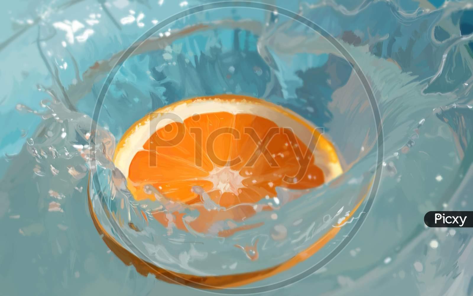 Closeup Of Fresh Orange Slice Falling Into Water With Splashes