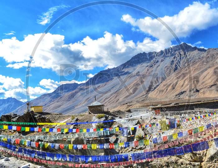 Buddhist prayer flags at Kaza Himachal Pradesh