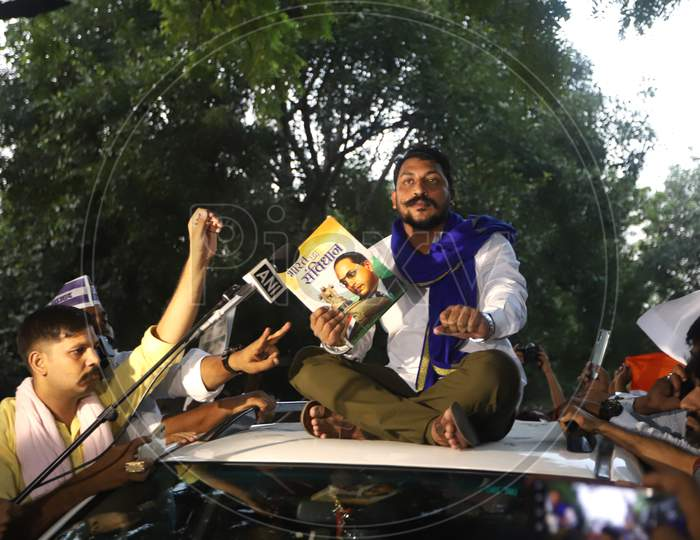 Bhim Army chief Chandrashekhar Azad addresses protesters at the citizens' protest to demand justice for Hathras Dalit victim, at Jantar Mantar, on October 2, 2020 in New Delhi, India.
