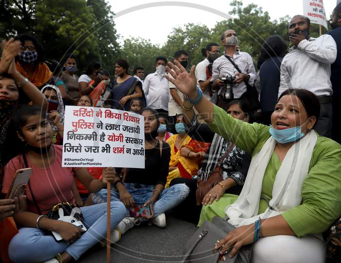 Members of various political bodies protest at the Citizen's protest to demand justice for Hathras victim, at Jantar Mantar, on October 2, 2020 in New Delhi, India.