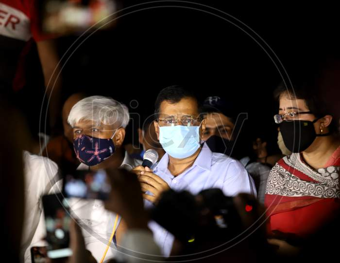 Delhi Chief Minister Arvind Kejriwal address the gathering during the protest demanding justice for Hathras gang-rape victim, at Jantar Mantar, on October 2, 2020 in New Delhi, India.