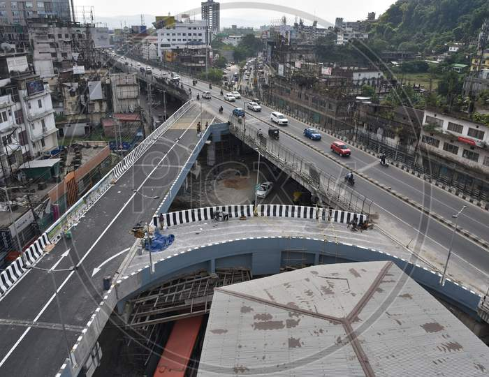 A view of newly constructed Bishnu Rabha flyover connecting Zoo road with GS Road will be formally inaugurates by Assam Chief Minister Sarbananda Sonowal on Thursday, October 22, 2020, in Guwahati on Tuesday, October 20, 2020.