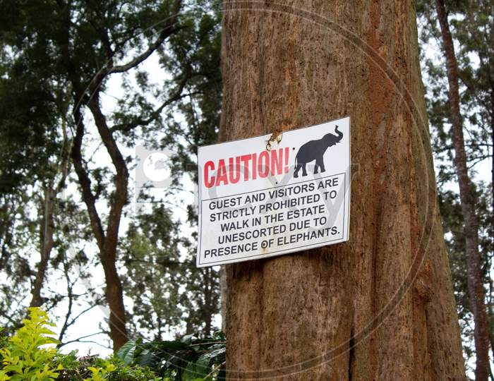 Wild Elephant Warning sign for guests in Tata Coffee plantations, Coorg.