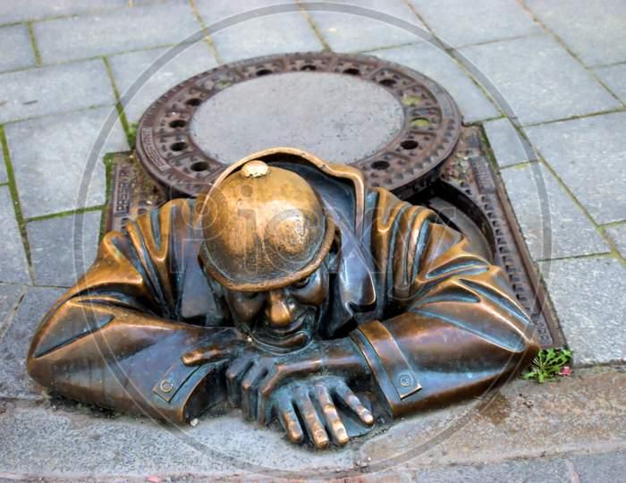 Sculpture in the city of Bratislava in Slovakia 11.9.2020