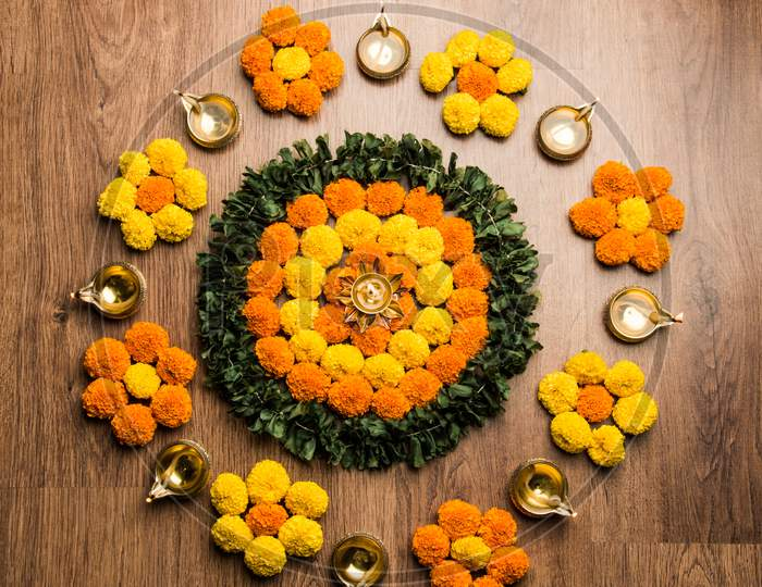 Flower Rangoli Or Design Pattern Or Arrangement For Indian Festivals