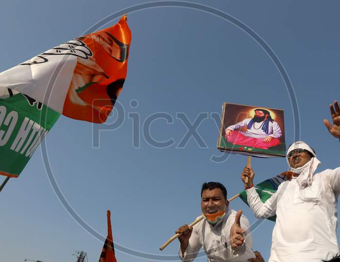 Congress party workers protest at Delhi-Noida border during a protest after the death of a rape victim, in Noida, India, October 3, 2020.