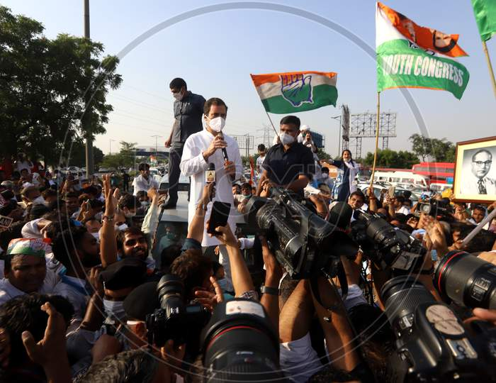 Rahul Gandhi, leader of Congress party, addresses his party workers at Delhi-Noida border during a protest after the death of a rape victim, in Noida, India, October 3, 2020.