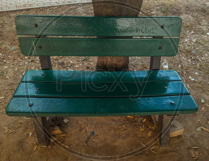 Green Bench In The Park.