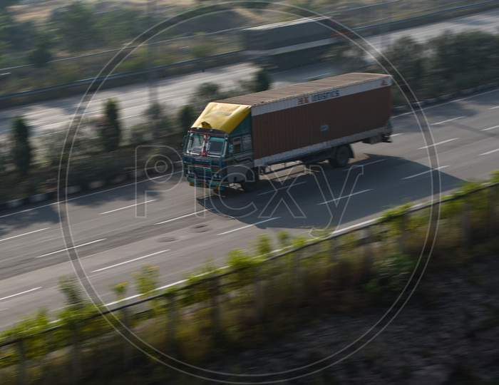 Fast moving lorry on a Highway