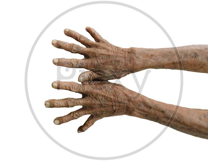Closeup Of An Old Women Hands On White Background