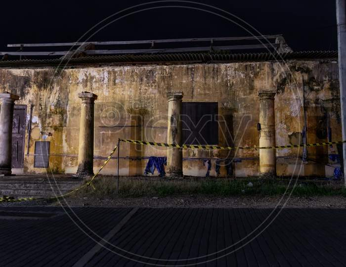 Abandoned Old Building In Galle Fort Street Night Photograph