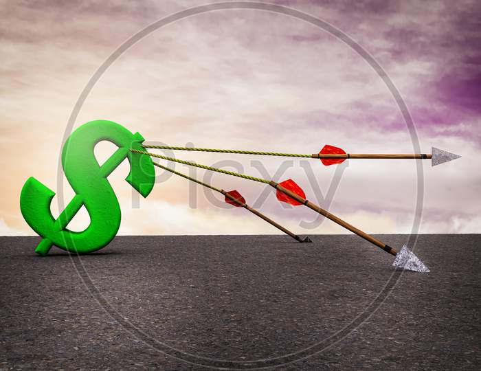 One Arrows Dragging A Green Dollar Icon With Others Arrows Fallen To The Ground At Sunset Magenta Sky. Back On Your Feet Or Buck Global Economic Downturn Concept. 3D Illustration