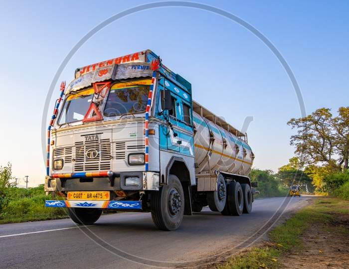 Lorry travelling on Indian State Highway