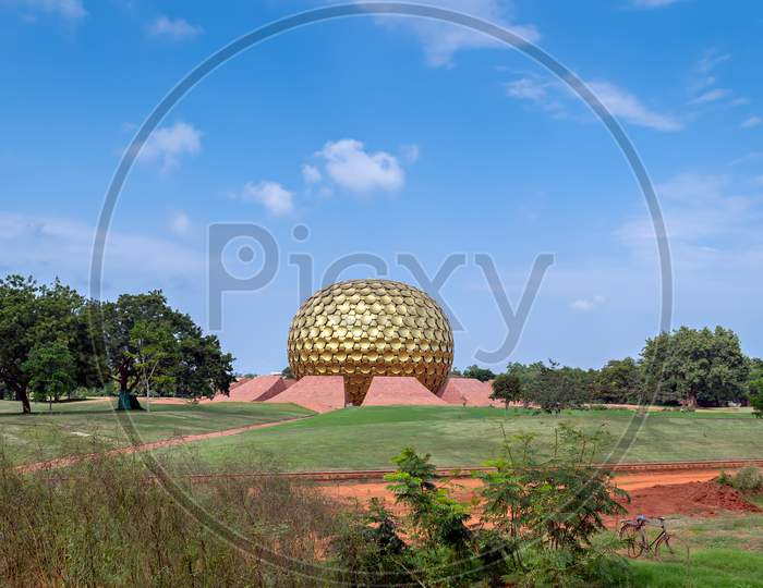 Golden Dome Of Matrimandir-An Edifice Of Spiritual Significance For Practitioners Of Integral Yoga.