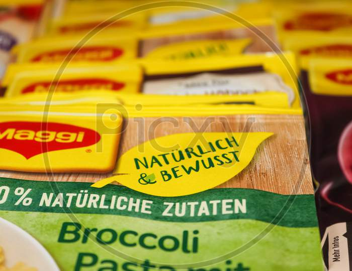 German Maggi Instant Sauce Packages, Owned By Nestle. Maggi Is An International Brand Of Soups, Stocks, Bouillon Cubes, Ketchup, Sauces, Seasonings And Instant Noodles.
