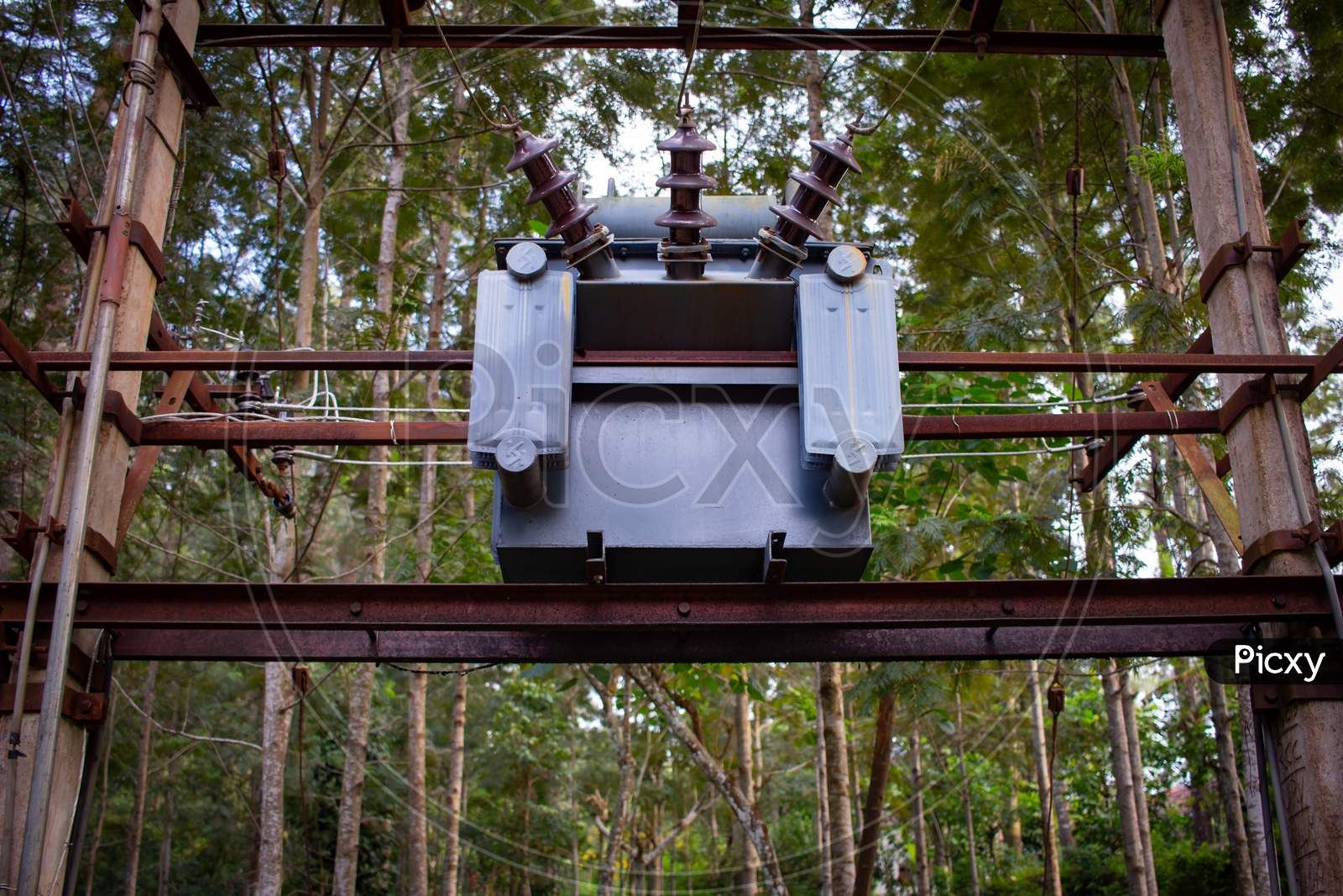 View Of Electrical Transformer In A Hill Station, India