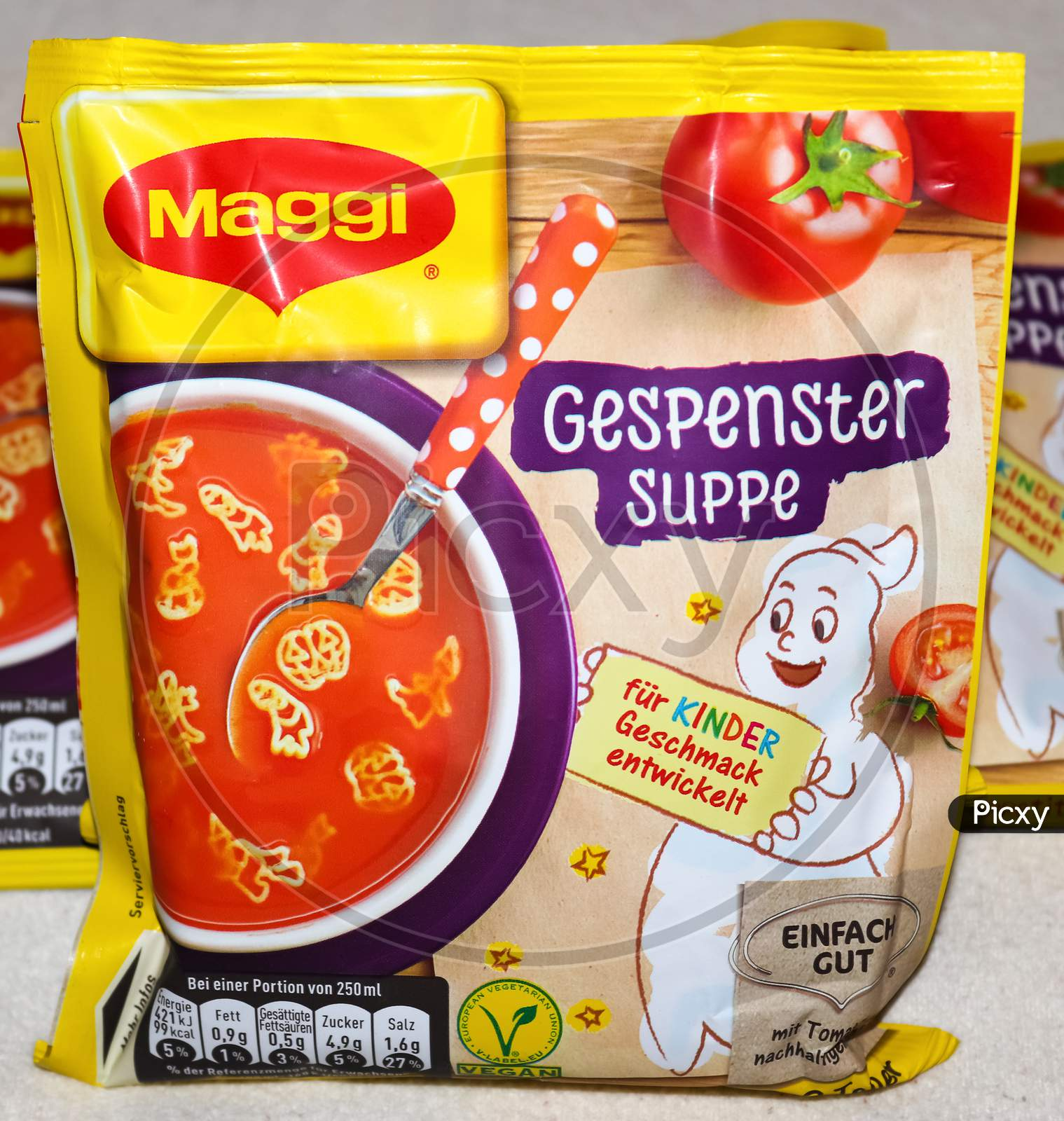 German Maggi Instant Noodles Called Gespenstersuppe Owned By Nestle, Maggi Is An International Brand Of Soups, Stocks, Bouillon Cubes, Ketchup, Sauces, Seasonings And Instant Noodles.