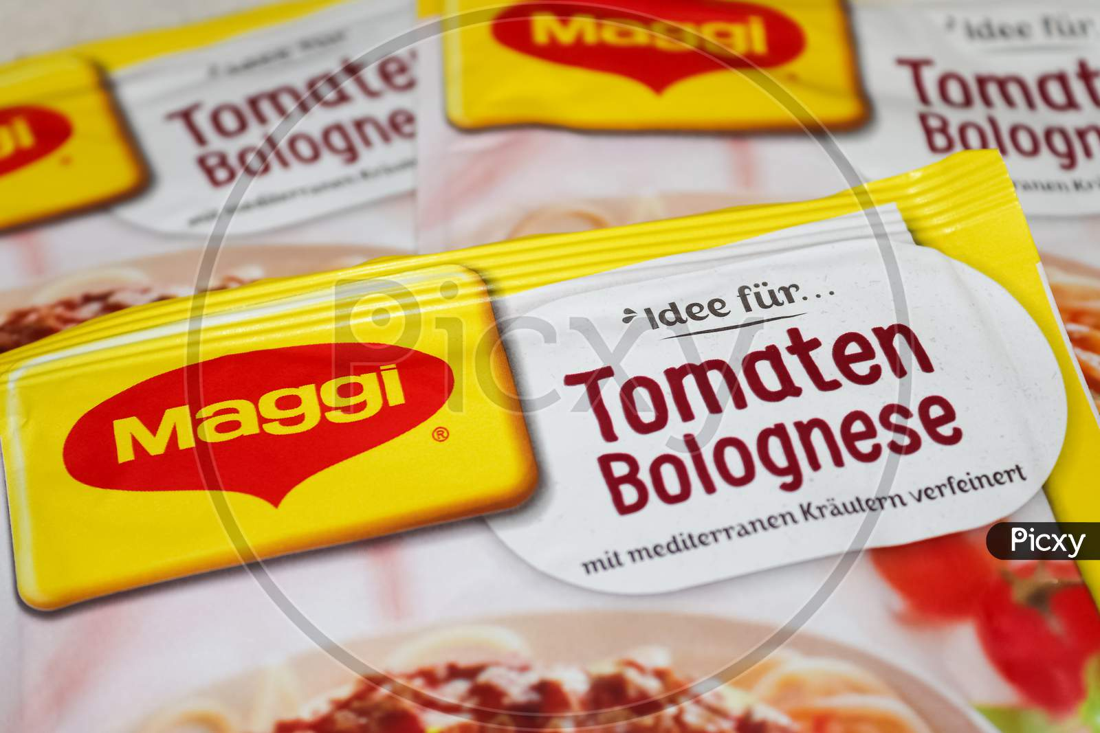German Maggi Instant Noodles Called Spaghetti Bolognese, Owned By Nestle. Maggi Is An International Brand Of Soups, Stocks, Bouillon Cubes, Ketchup, Sauces, Seasonings And Instant Noodles.