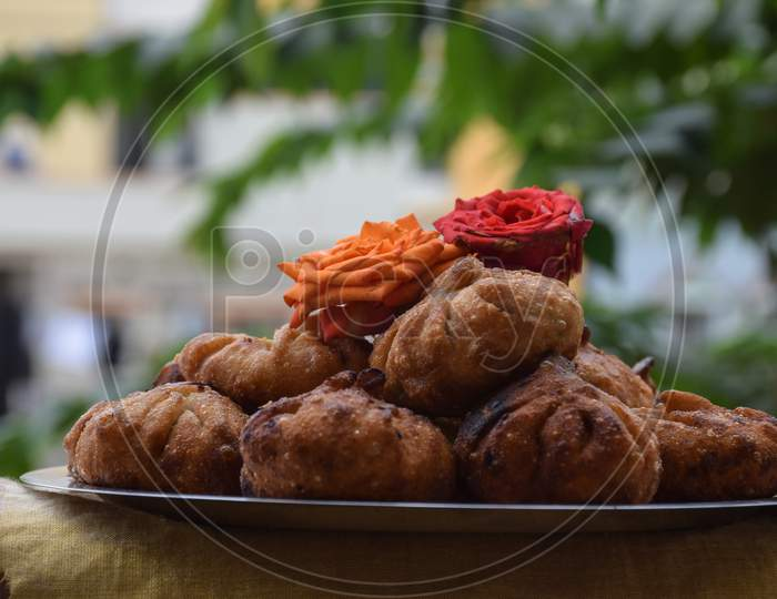 Modak Or Sweet Fried Mo-Mos ,It Is A Traditional And Popular Indian Sweet Dish Made During The Ganpati Festival In India