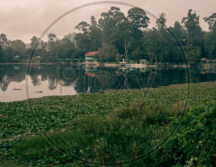 Scenic View Of A Boat House In Yercaud Lake Which Is One Of The Largest Lakes In Tamil Nadu. India