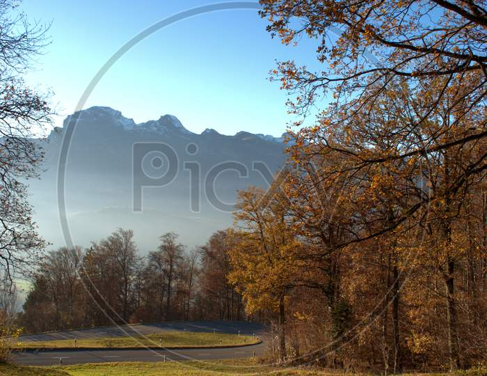 Colorful autumn scenery in Triesenberg in Liechtenstein 18.11.2020