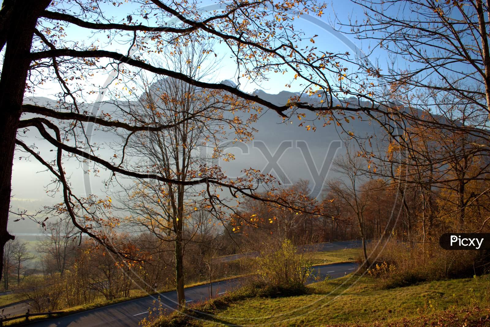Colorful autumn scenery in Triesenberg in Liechtenstein 18.11.2020