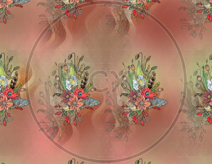 DIGITAL TEXTILE DESIGN AND COLOURFUL BACKGROUND WITH FLOWERS