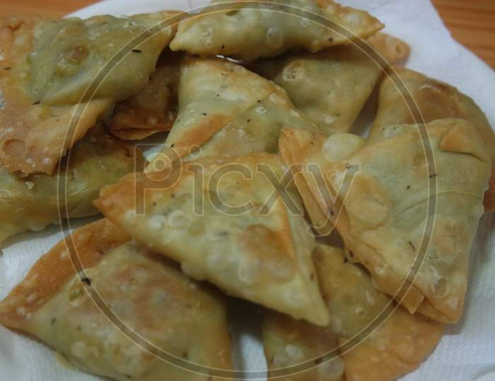 Closeup Of Delicious Home Made Samosa Or Pastries Food On White Background