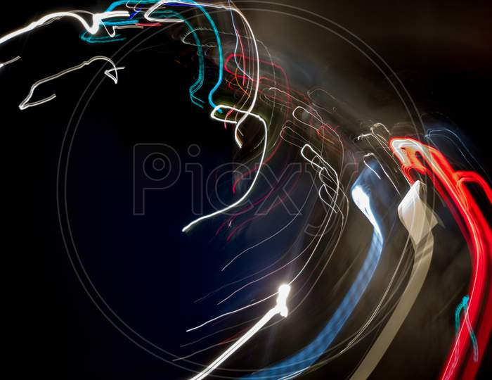 Light painting of light coming from decorative lighting source during festival season