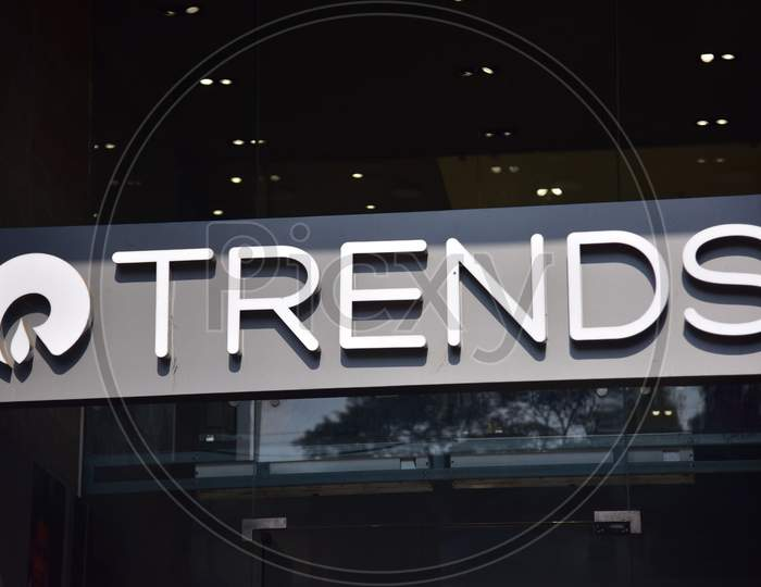 The logo of Reliance Trends outside a clothing store  in Assam on Dec 23,2020
