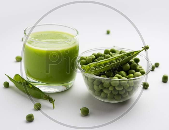 Healthy Green Peas Juice Or Shake Or Beverage Served In A Glass