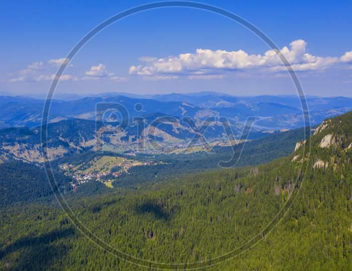 Aerial View Of Forest Village, Winter Resort
