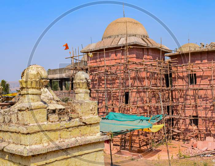 Picture Of A Renovation Of Ancient Hindu Temple In The Old City Of India