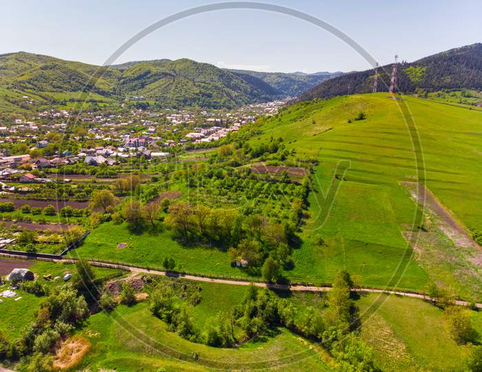 Aerial View Of Village In Spring