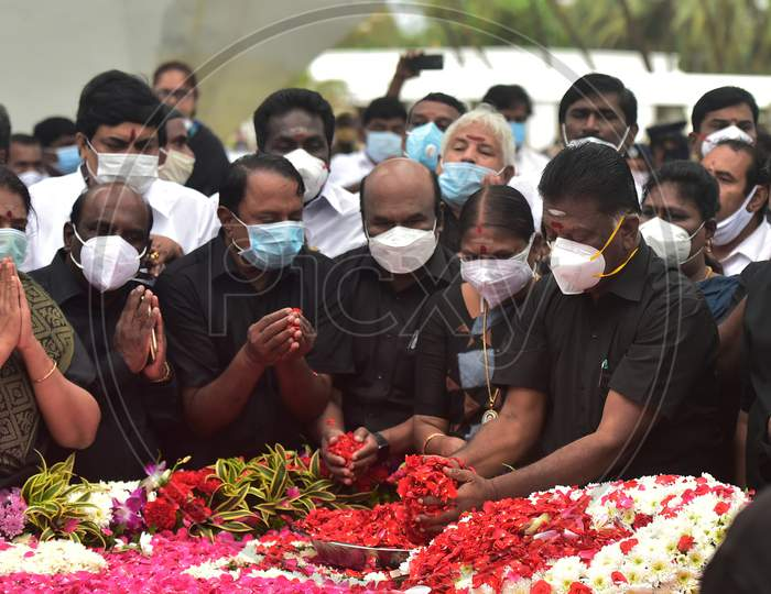 Tamil Nadu Chief Minister Edappadi K Palaniswami, Deputy Chief Minister O Panneerselvam And Aiadmk Senior Leaders Pay Tribute To Former Chief Minister Jayalalithaa On Her Fourth Death Anniversary, In Chennai, Saturday, Dec. 5, 2020.