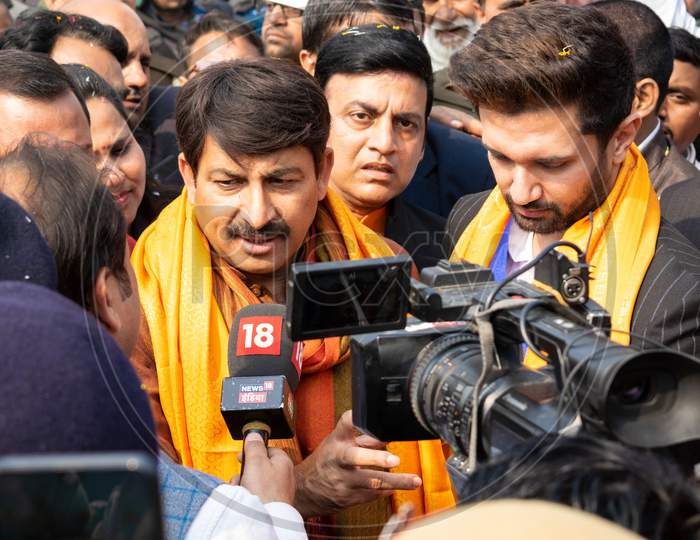 Bharatiya Janata Party Leader MP Manoj Tiwari campaigning for Delhi Assembly Election 2020