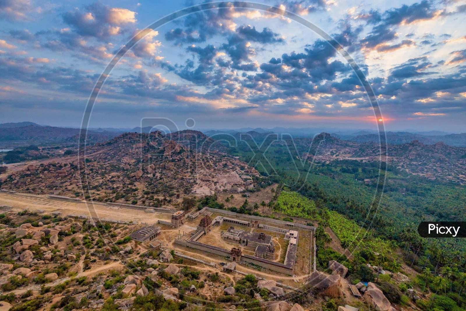 Aerial View Of Achutharaya Temple From Matanga Hill, Hampi