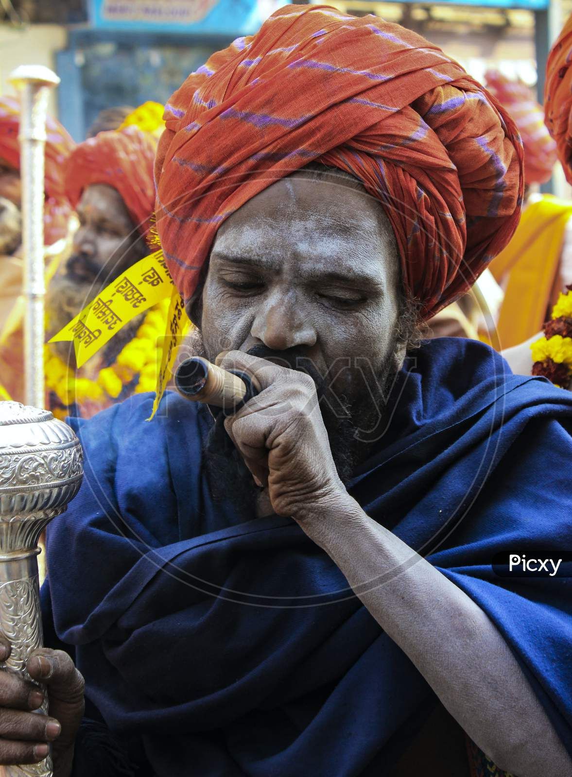 A Naga Sadhu Smoking Chillam