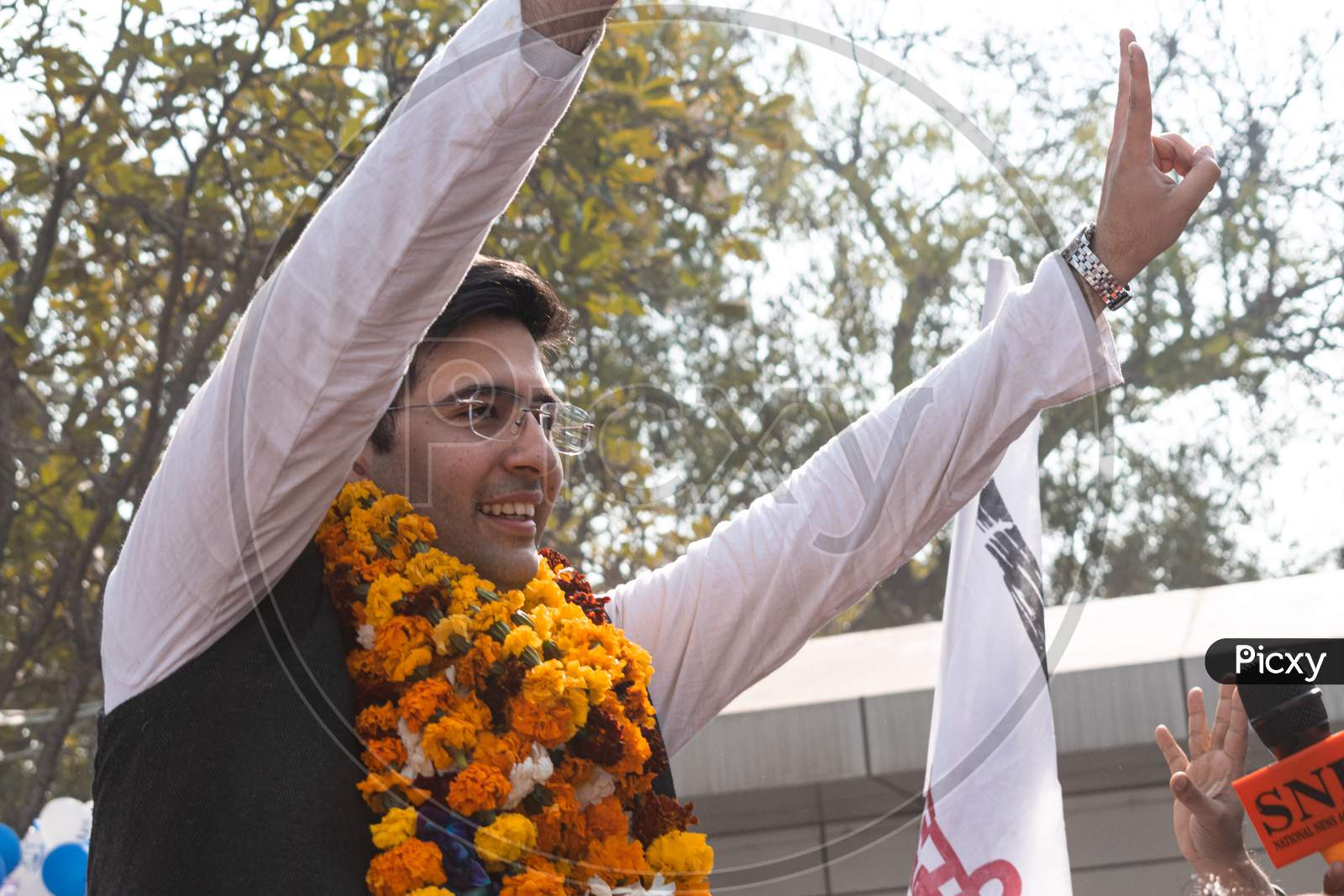 Raghav Chadha, Aam Aadmi Party AAP MLA, 7th Legislative Assembly, Delhi, Celebrating after victory in Delhi Assembly Election 2020