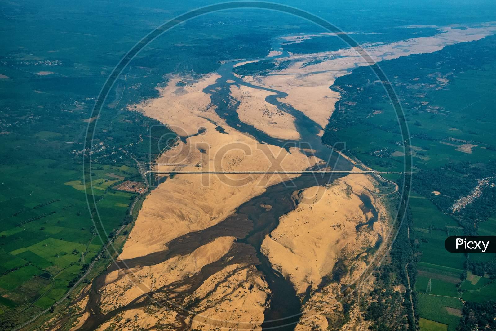 Kaveri River Channel  From Flight Window
