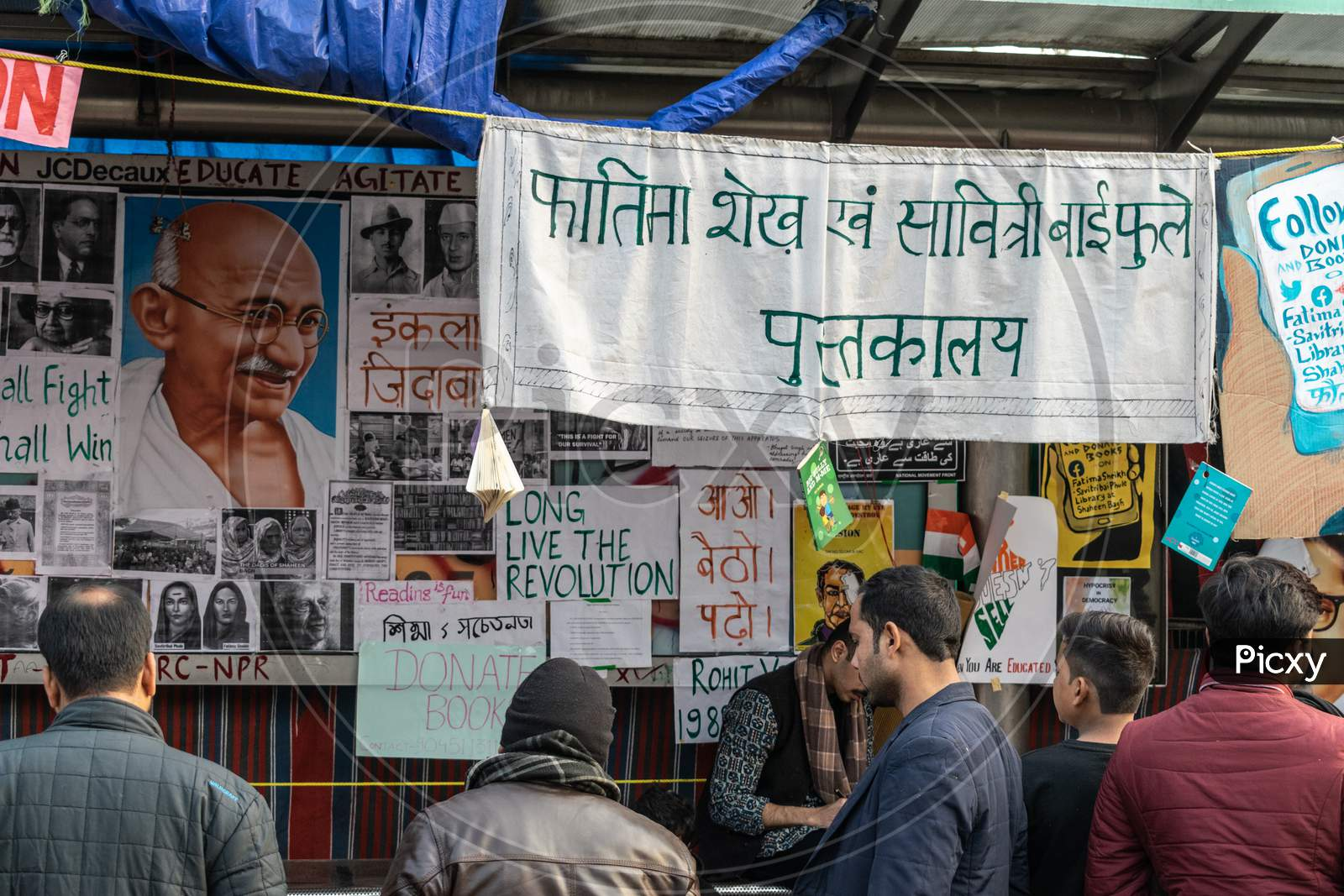 A library setup by protesters at Shaheen Bagh, protesting against Citizenship Amendment Act Caa National Register Of Citizens Nrc And National Population Register Npr