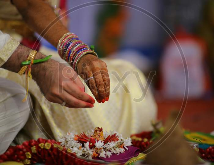 Traditional Rituals At An South Indian Hindu Marriage Or Wedding Ceremony