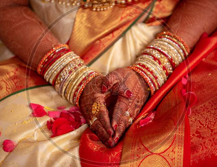 South Indian Wedding Rituals With Bride  At an Wedding Ceremony