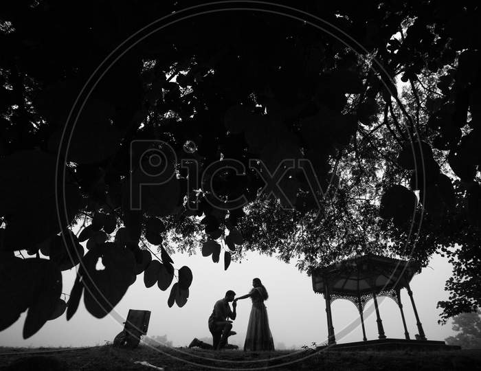 Landscape of Indian couple during Wedding Shoot