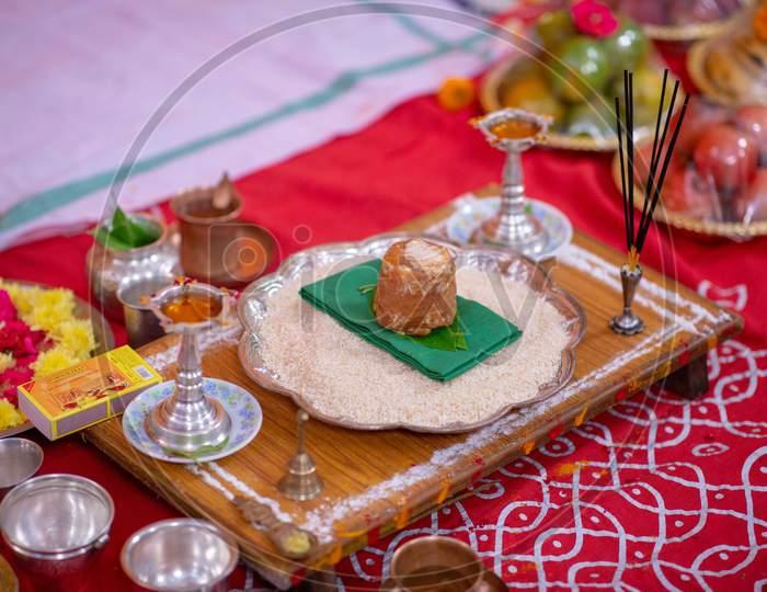 Traditional Pooja Plates At South Indian Hindu Wedding