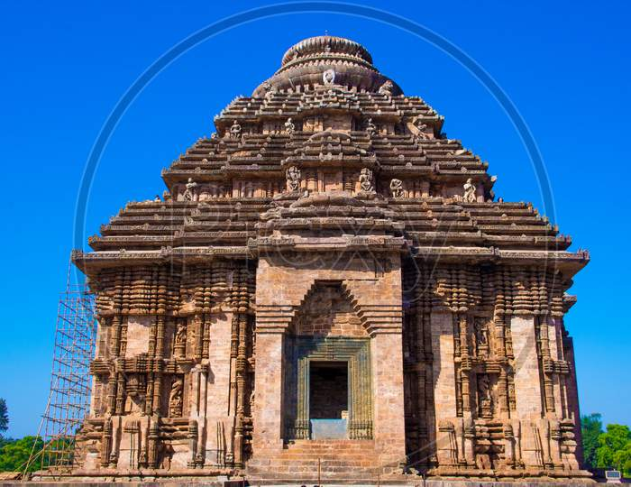 Ancient Indian architecture Konark Sun Temple in Odisha, India. World heritage site in India.