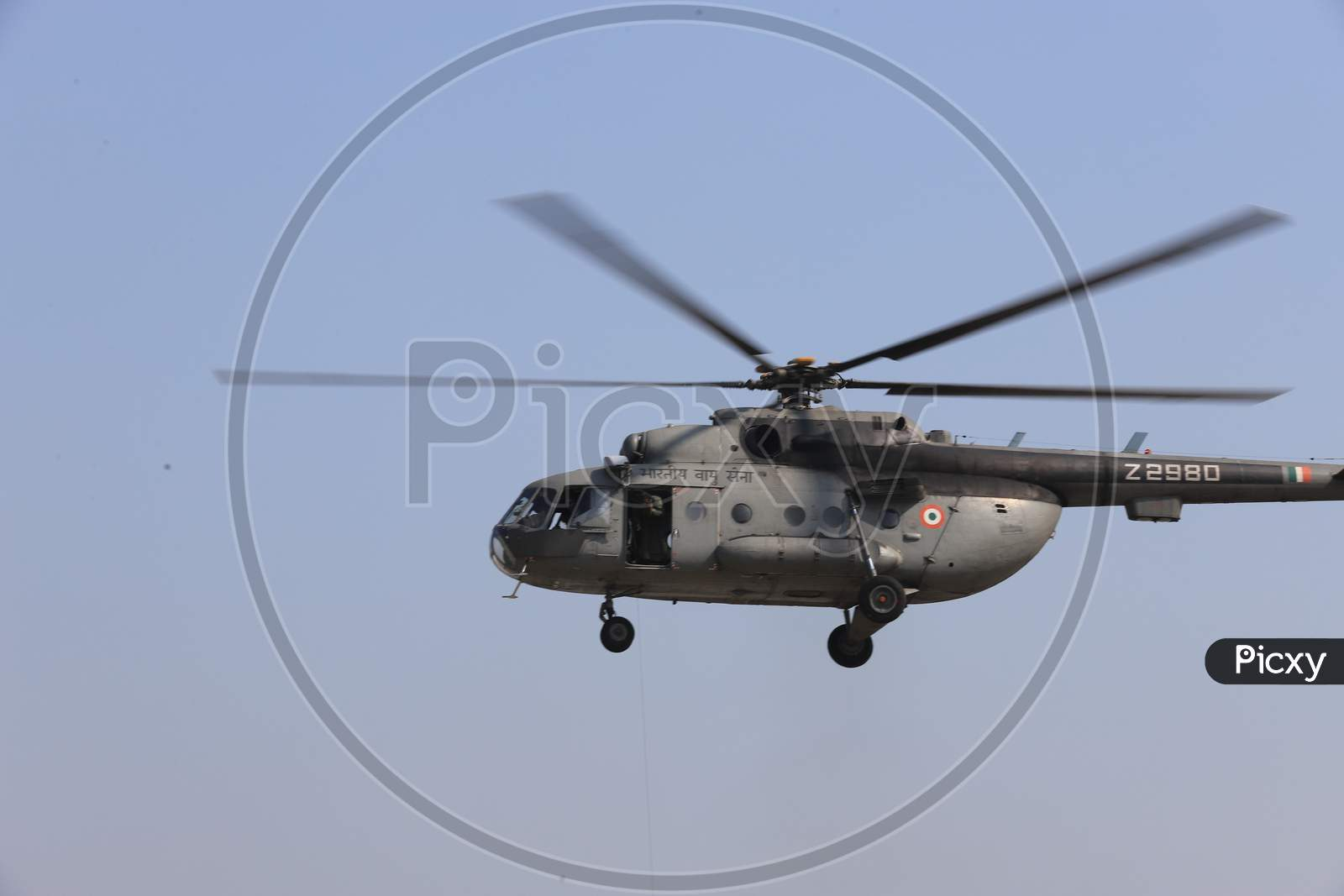 Indian Air Force Z2980 Helicopters Demonstration At an Air Base