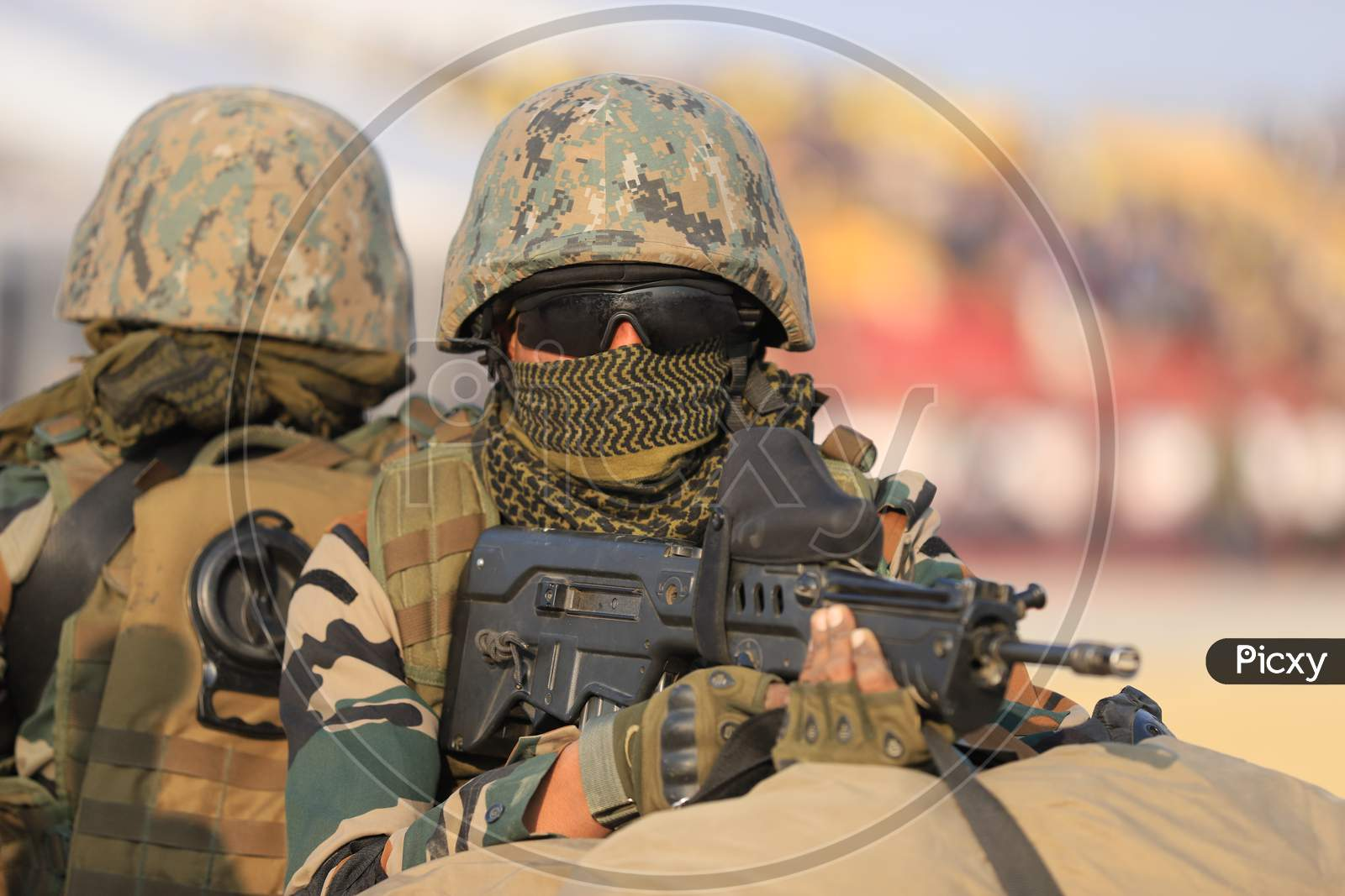 Indian Military  Or Indian Army Soldiers With Combat Ammunition At Defence Expo Event DefExpo 2020 in Lucknow , Uttar Pradesh